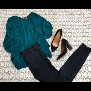 Fei dolman sleeve silk blouse teal cute top